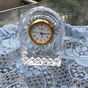 """Waterford Crystal Glass Table Clock 3 1/2"""" tall"""